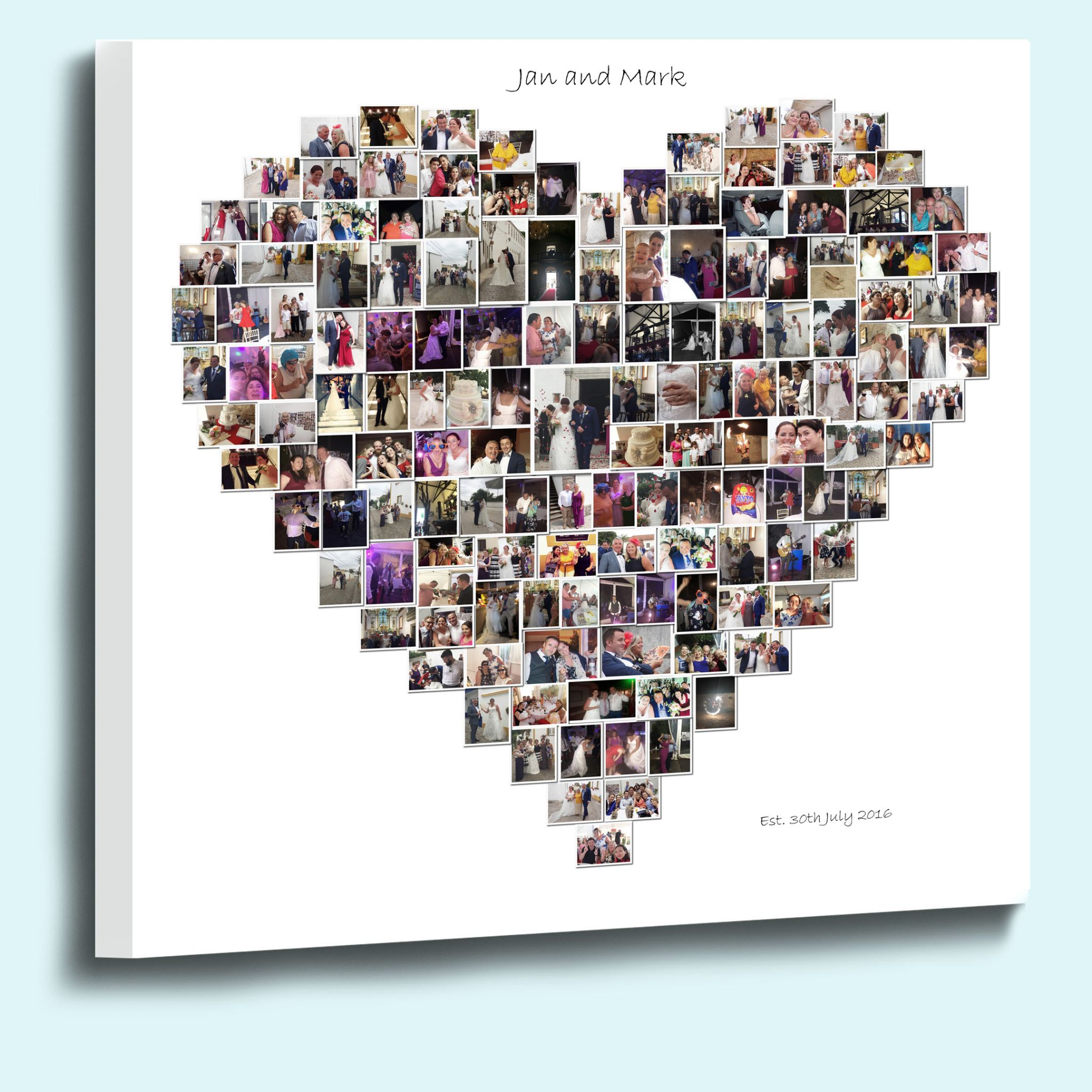 Personalised Heart Shape Photo Collage Framed Canvas Print 38mm